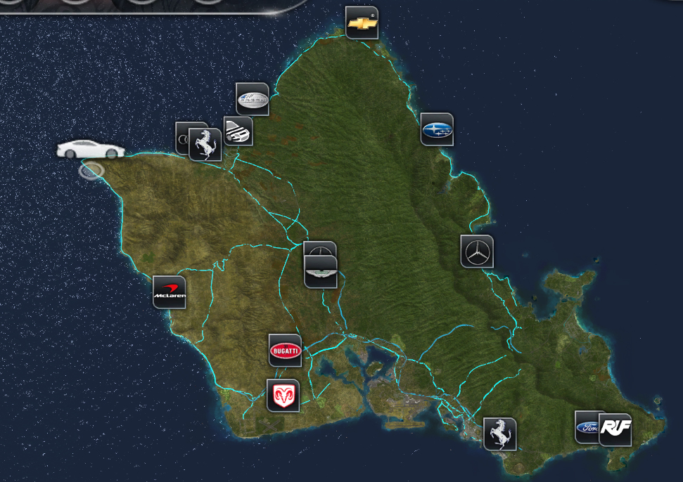 Test Drive Unlimited  Map Hawaii Car Dealers